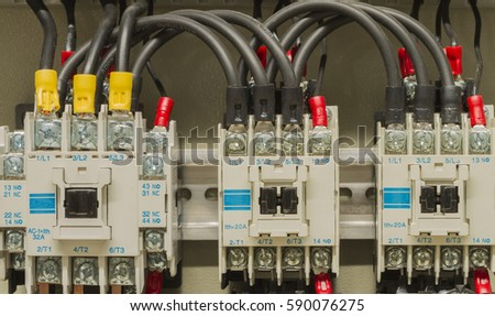 closeup electrical wiring fuses contactors control stock photo (editclose up electrical wiring with fuses and contactors, control box of machine