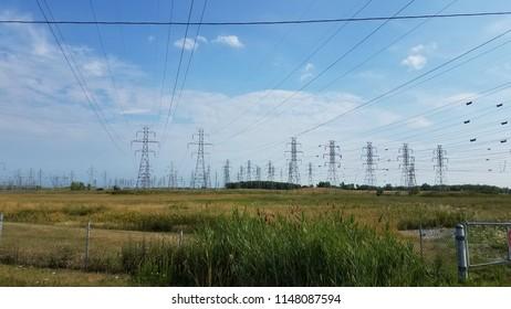 Closeup electricity lines