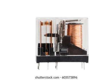 Closeup electromagnetic relay isolated on white background