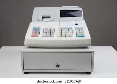 Close-up Of Electronic Cash Register Moneybox On Counter