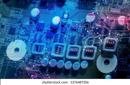 Closeup of electronic circuit board .