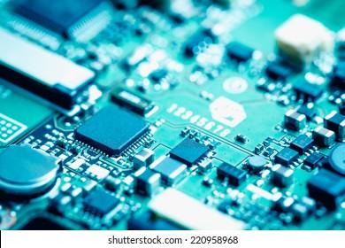 Closeup of electronic circuit board.