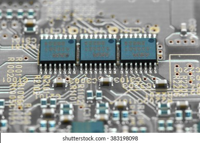 Closeup electronic circuit board background