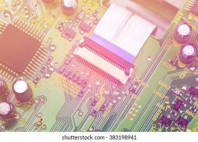 Closeup electronic circuit board background