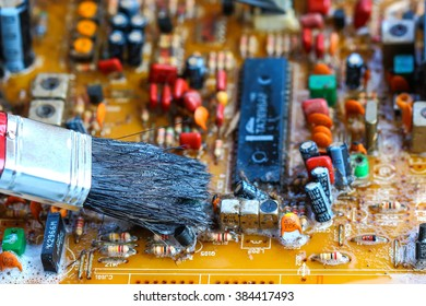 Closeup electronic circuit board background,cleaning