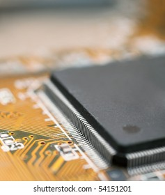 Closeup of electronic circuit board of computer with micro processor