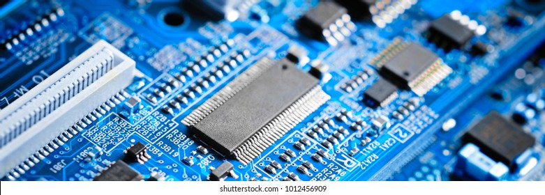 close-up of electronic circuit board with processor