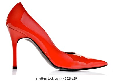 Close-up of elegant female red shoe on a white background