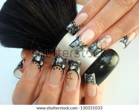 closeup elegant halloween nail art design stock photo