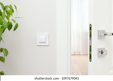 Close-up elements of the interior of the apartment. Ajar white door. Chrome door handle and lock with key. The light switch on the wall and green plant