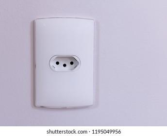 Close-up  eletrical power socket outlet three (3) pin - Brazilian standard - Brazil