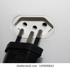 Close-up  eletrical power socket outlet three (3) pin and plug socket - Brazilian standard - Brazil