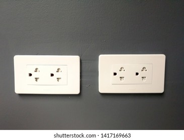 Close-up eletrical power socket outlet three