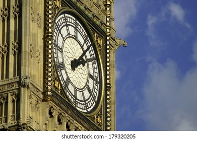 Closeup of Elizabeth Tower. Palace of Westminster in London