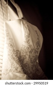close-up of the embroidery of a wedding dress
