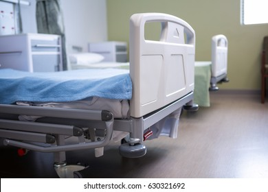 Close-up of empty beds in ward at hospital