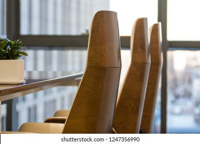 Closeup of an empty conference room before meeting,Business meeting is about to start in the early morning