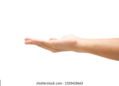 closeup empty open male hand use for array goods of advertisement. Isolated on white background with clipping path concept.Image.