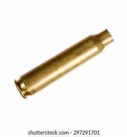 Close-up of an empty rifle bullet cartridge.