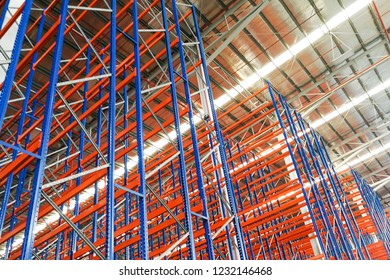 Closeup of empty warehouse racking facilities system for logistic industry