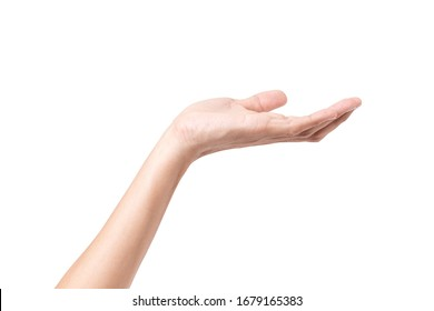 Close-up of empty woman hand isolated on white background with clipping path
