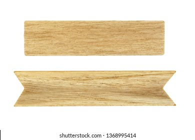 Close-up of empty wooden signboard isolated on white background with clipping path