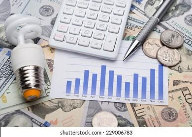 Closeup of energy saving bulb with graph and calculator on dollar bills