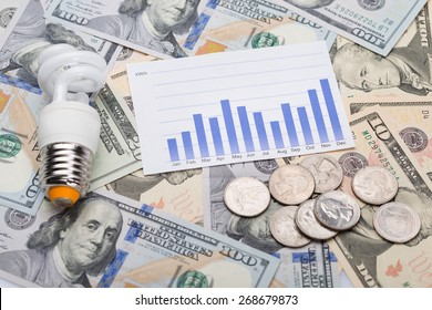Closeup of energy saving bulb with graph and coins on dollar bills