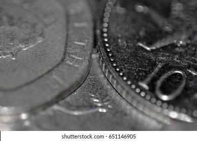Closeup of English coins