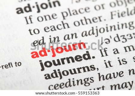 closeup english dictionary page word adjourn stock photo edit now