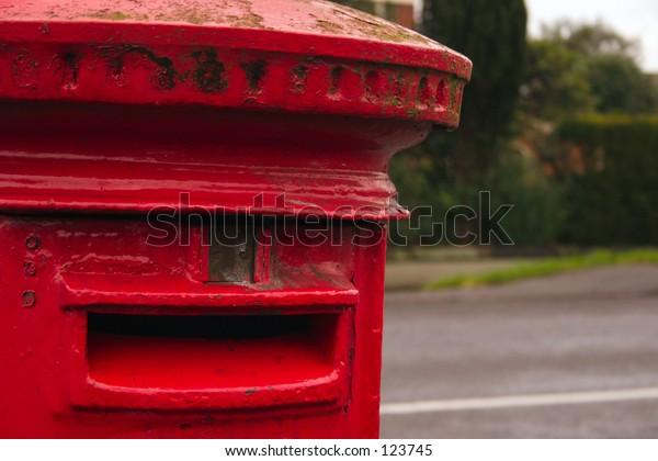 closeup of a english red pillar-box.