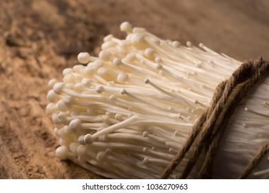 closeup Enoki golden mushroom on wood