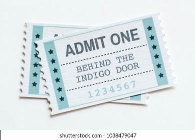 Closeup of an entertainment show ticket entertainment concept