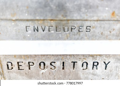 Closeup of envelopes, depository sign on bank building with vintage, retro metal background
