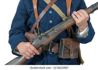 a close-up of the equipment of the French soldier 1918