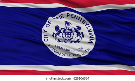 Closeup of Erie Flag Flag, Waving in the Wind, Pennsylvania State, United States of America