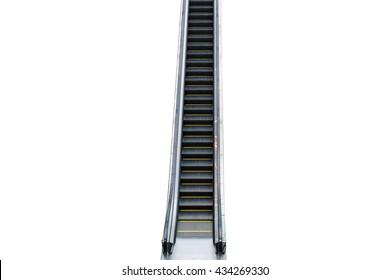 Closeup of the escalator isolated on white background.