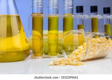 Gros plan sur un biocarburant à base d'éthanol issu d'un labyrinthe de maïs avec un bécher et des éprouvettes en laboratoire