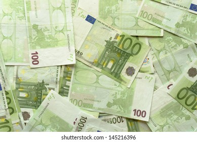 Close-up of Euro Bills Horizontal Background Photo