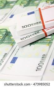 Close-up of euro cash pile of money
