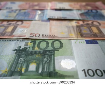 Close-up of Euro currency banknotes background wallpaper business surface financial backdrop