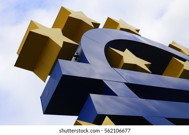 Close-up of Euro sign sculpture near European Central Bank headquarters, Frankfurt am Main, Germany