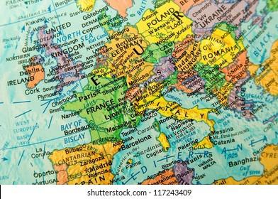 Close-up Europe on globe