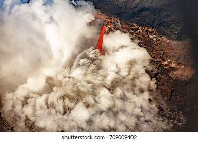 Closeup of Explosive firehose lava flow into ocean on coast of hawaii