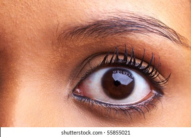 Close-up of an eye of a young african woman