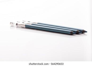 Closeup of eyeliner pencil on white background