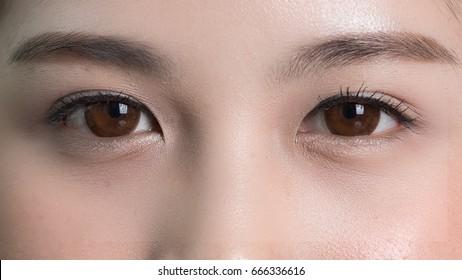 Close-up of eyes Asian women