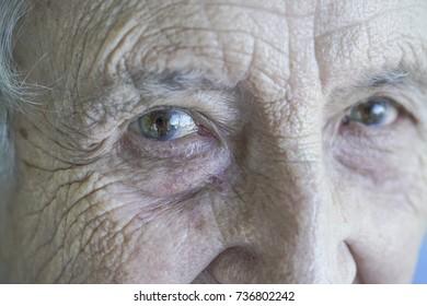 closeup eyes of a senior person