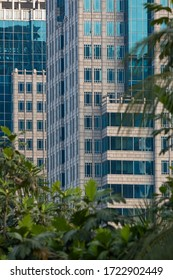Close-up of the facade of one of the skyscrapers and business buildings of the Gambir area in Central Jakarta, Indonesia