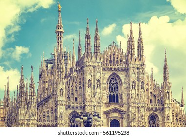 Close-up facade view of Duomo di Milano (Milan Cathedral), Milan, Italy. Filtered vintage ink color style